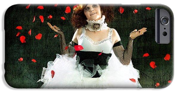 Daydreams Art Photographs iPhone Cases - Vintage Dancer Series Raining Rose Petals  iPhone Case by Cindy Singleton