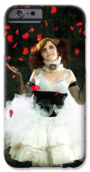 Vintage Dancer Series Raining Rose Petals  iPhone Case by Cindy Singleton
