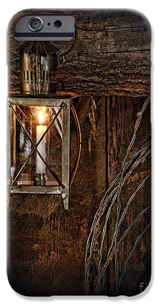 Vintage Lantern Hung in a Barn iPhone Case by Jill Battaglia