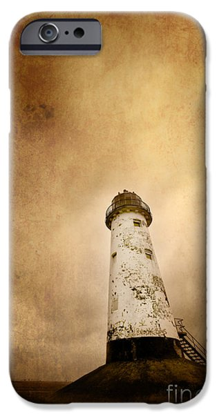 vintage lighthouse iPhone Case by Meirion Matthias