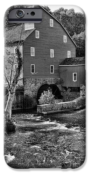 Old Mill Scenes iPhone Cases - Vintage Mill in Black and White iPhone Case by Paul Ward