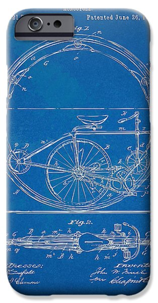 Concept Digital Art iPhone Cases - Vintage Monocycle Patent Artwork 1894 iPhone Case by Nikki Marie Smith