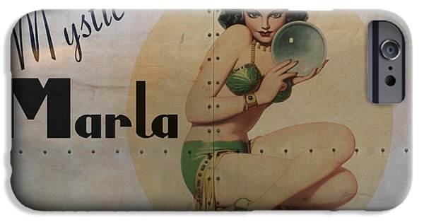 Pin-up iPhone Cases - Vintage Nose Art Mystic Marla iPhone Case by Cinema Photography