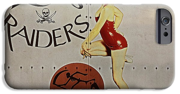 Nose Digital Art iPhone Cases - Vintage Pinup Nose Art Ritas Raiders iPhone Case by Cinema Photography
