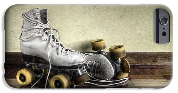 Roller Skates iPhone Cases - Vintage roller skates  iPhone Case by Carlos Caetano