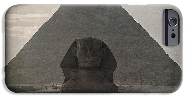 Great Mysteries iPhone Cases - Vintage Sphinx iPhone Case by Jane Rix