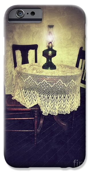 Vintage Table and Chairs by Oil Lamp Light iPhone Case by Jill Battaglia