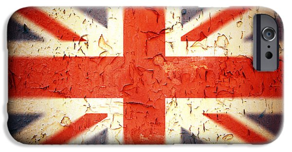 Rust Photographs iPhone Cases - Vintage Union Jack iPhone Case by Jane Rix