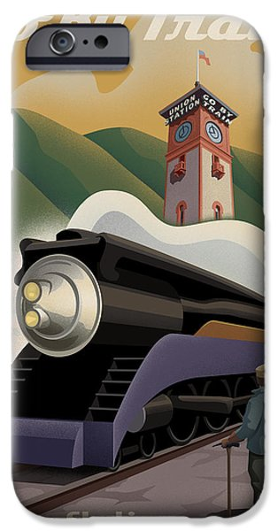 Oregon iPhone Cases - Vintage Union Station Train Poster iPhone Case by Mitch Frey