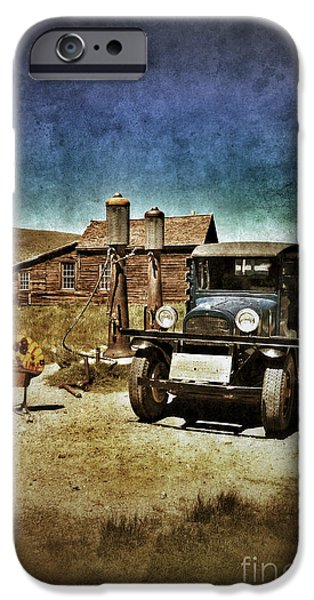Vintage Vehicle at Vintage Gas Pumps iPhone Case by Jill Battaglia