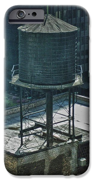 Old Chicago Water Tower iPhone Cases - Vintage Water Tower on Old Building iPhone Case by Christopher Purcell