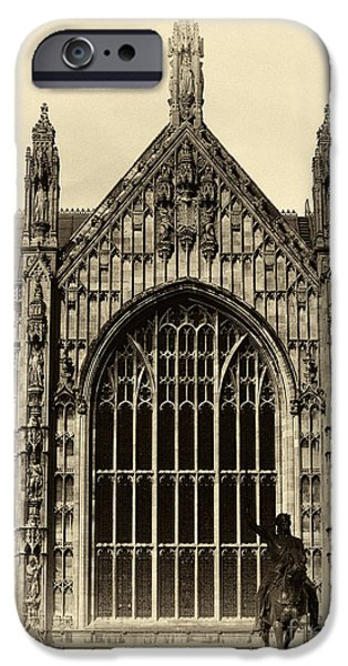 Westminster Palace iPhone Cases - Vintage Westminster Palace iPhone Case by John Rizzuto