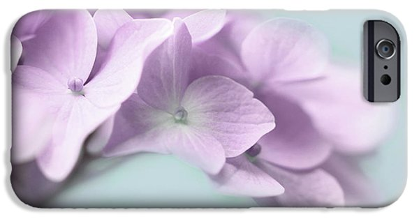 Purple Hydrangeas iPhone Cases - Violet Hydrangea Flower Macro iPhone Case by Jennie Marie Schell