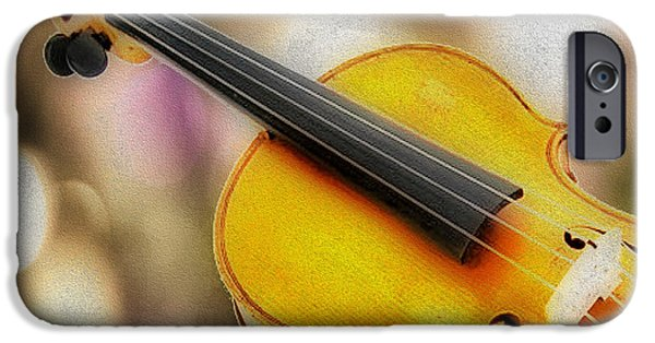 Gut iPhone Cases - Violin iPhone Case by Cheryl Young