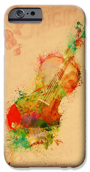 Sound Digital Art iPhone Cases - Violin Dreams iPhone Case by Nikki Marie Smith