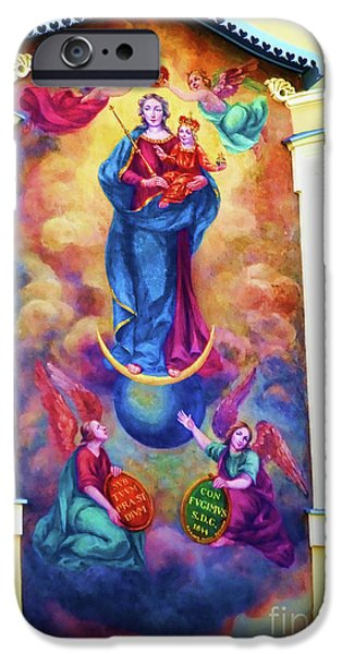 Virgin Mary Mural iPhone Case by Mariola Bitner
