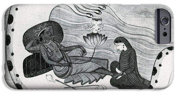 Hindu Goddess iPhone Cases - Vishnu And Lakshmi iPhone Case by Photo Researchers