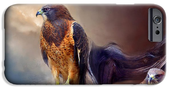 Spirit Hawk Art Print iPhone Cases - Vision Of The Hawk 2 iPhone Case by Carol Cavalaris