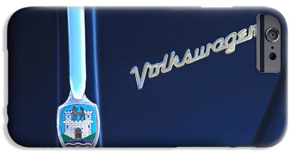 Volkswagen iPhone Cases - Volkswagen VW Bug Hood Emblem iPhone Case by Jill Reger