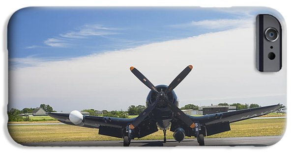 Military Airplanes iPhone Cases - Vought F4U Corsair Fighter Plane on Runway Canvas Photo Poster Print iPhone Case by Keith Webber Jr