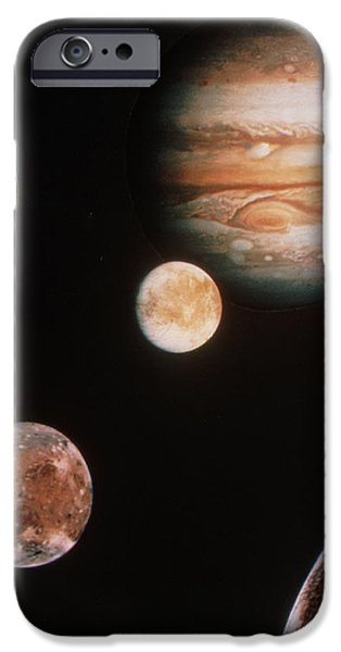 Galilean Moon iPhone Cases - Voyager Mosaic Of Jupiter & Its 4 Galilean Moons iPhone Case by Nasa
