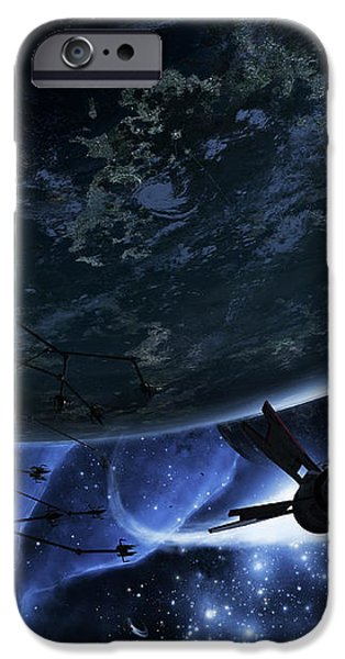 Vulture Ships Hunt Down And Dismantle iPhone Case by Brian Christensen