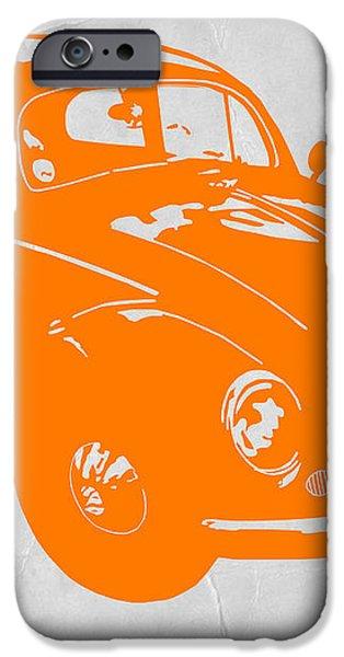 VW Beetle Orange iPhone Case by Naxart Studio