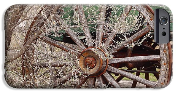 Wagon Photographs iPhone Cases - Wagon Wheel iPhone Case by Robert Frederick
