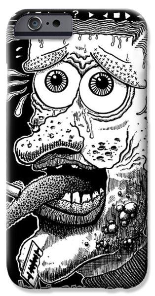 Eerie Drawings iPhone Cases - Wah Tam Eye iPhone Case by Ralf Schulze