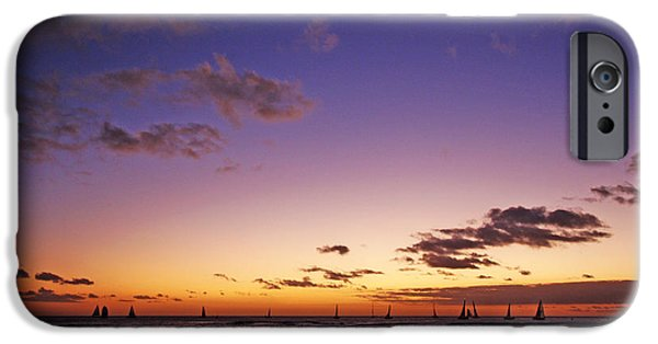 Sailboat Ocean iPhone Cases - Waikiki Sailboats iPhone Case by Ty Helbach