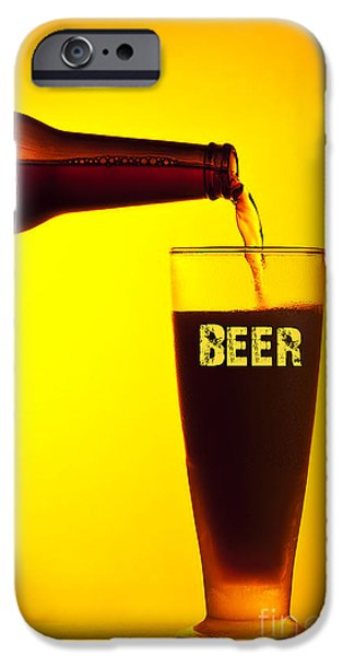 Oktoberfest iPhone Cases - Waiter pouring dark beer iPhone Case by Anna Omelchenko
