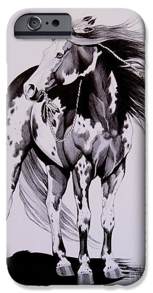 Drawing Of A Horse iPhone Cases - Waiting on the Human iPhone Case by Cheryl Poland