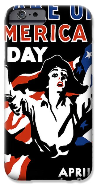 America Mixed Media iPhone Cases - Wake Up America Day iPhone Case by War Is Hell Store