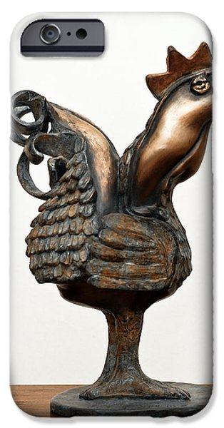 Office Sculptures iPhone Cases - Wakeup Call Rooster Image 2 Bronze Sculpture with beak feathers tail brass and opaque surface  iPhone Case by Rachel Hershkovitz