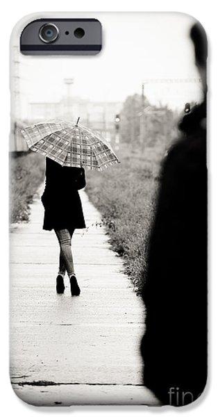 Rainy Day iPhone Cases - Walking away iPhone Case by Gabriela Insuratelu