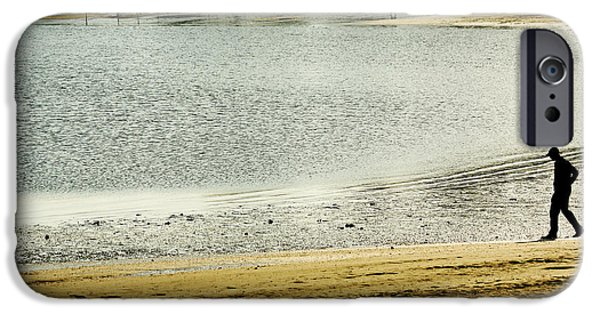 Dog In Landscape Digital iPhone Cases - Walking on The Beach iPhone Case by Carol F Austin