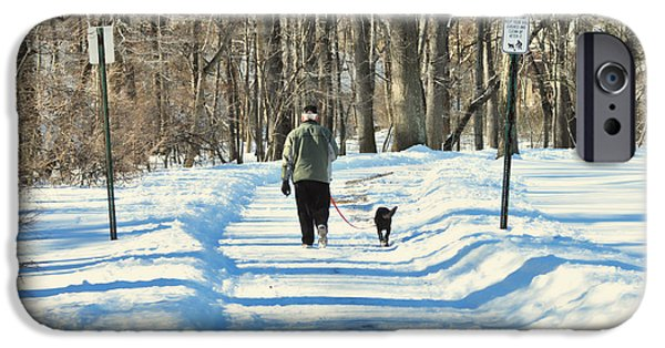 Dog In Snow iPhone Cases - Walking the dog iPhone Case by Paul Ward