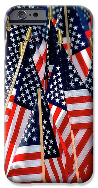 Wall of US Flags iPhone Case by Carolyn Marshall