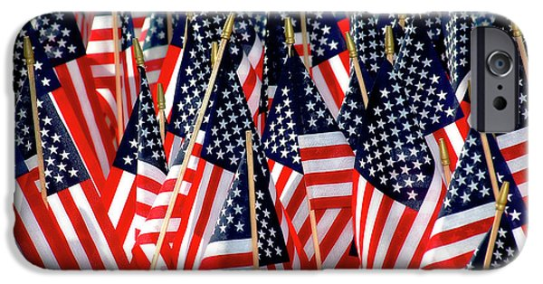 4th July Photographs iPhone Cases - Wall of US Flags iPhone Case by Carolyn Marshall