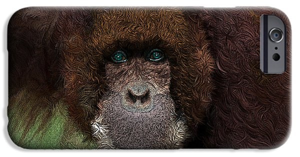 Orangutan Digital Art iPhone Cases - WANNA MONKEY AROUND - Featured in the WILDLIFE Group iPhone Case by EricaMaxine  Price