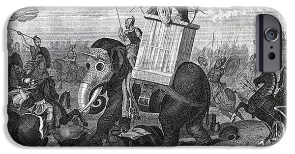 Nineteenth iPhone Cases - War Elephants In Combat.  From A 19th iPhone Case by Ken Welsh