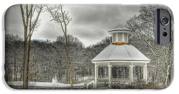 Snowy Day Digital Art iPhone Cases - Warm Gazebo on a cold day iPhone Case by Brett Engle