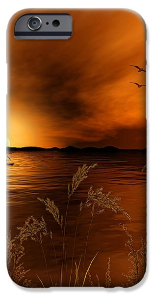 Gold Digital iPhone Cases - Warmth Ablaze - Gold Art iPhone Case by Lourry Legarde