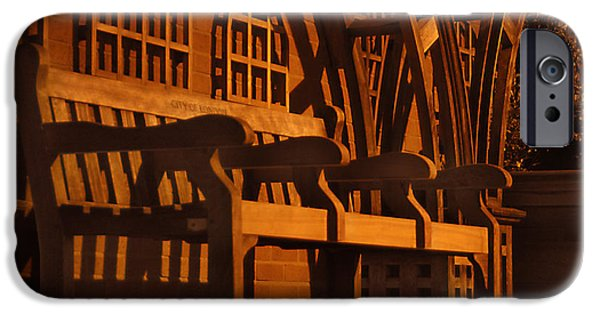 Walkway Digital Art iPhone Cases - Warmth of a London Bench iPhone Case by Mike McGlothlen