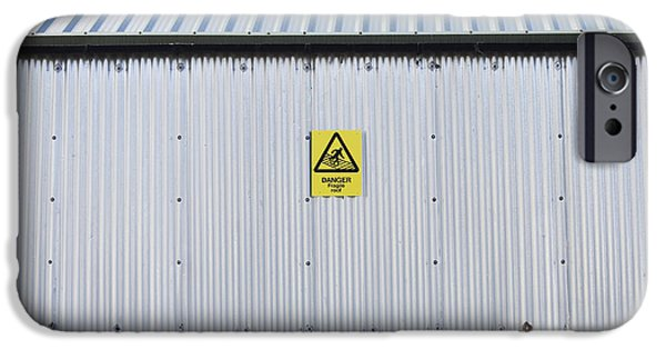 Metal Sheet iPhone Cases - Warning Sign on an Industrial Building iPhone Case by Iain Sarjeant