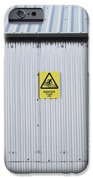 Warning Sign on an Industrial Building iPhone Case by Iain Sarjeant