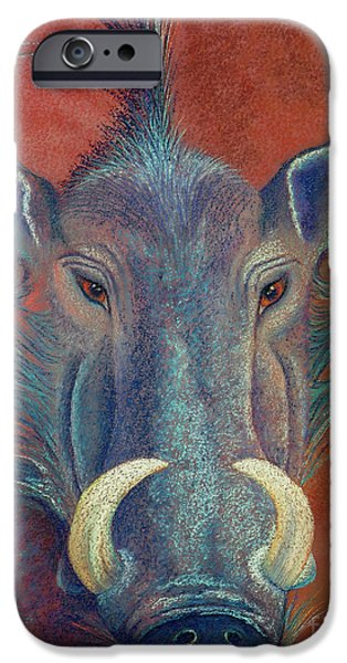 Wild Animals Pastels iPhone Cases - Warthog Defiance iPhone Case by Tracy L Teeter