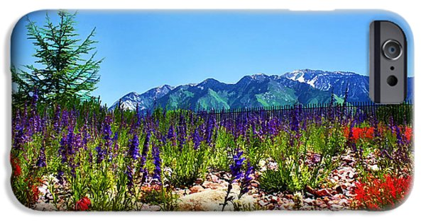 Mountain Digital Art iPhone Cases - Wasatch Mountains In Spring iPhone Case by Tracie Kaska