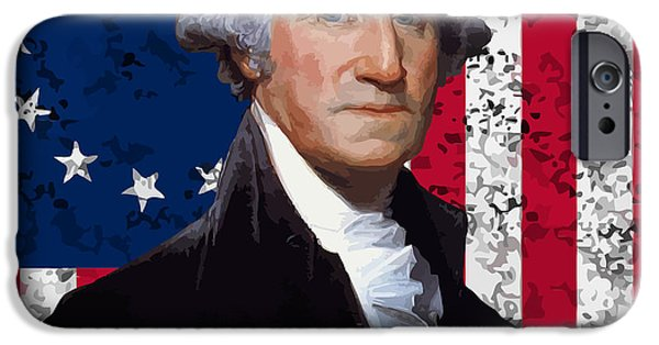 President iPhone Cases - Washington and The American Flag iPhone Case by War Is Hell Store