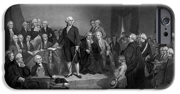 July 4th iPhone Cases - Washington Delivering His Inaugural Address iPhone Case by War Is Hell Store
